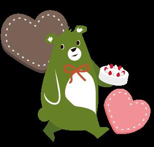 森のくまさんのキャラクター バレンタインバージョン